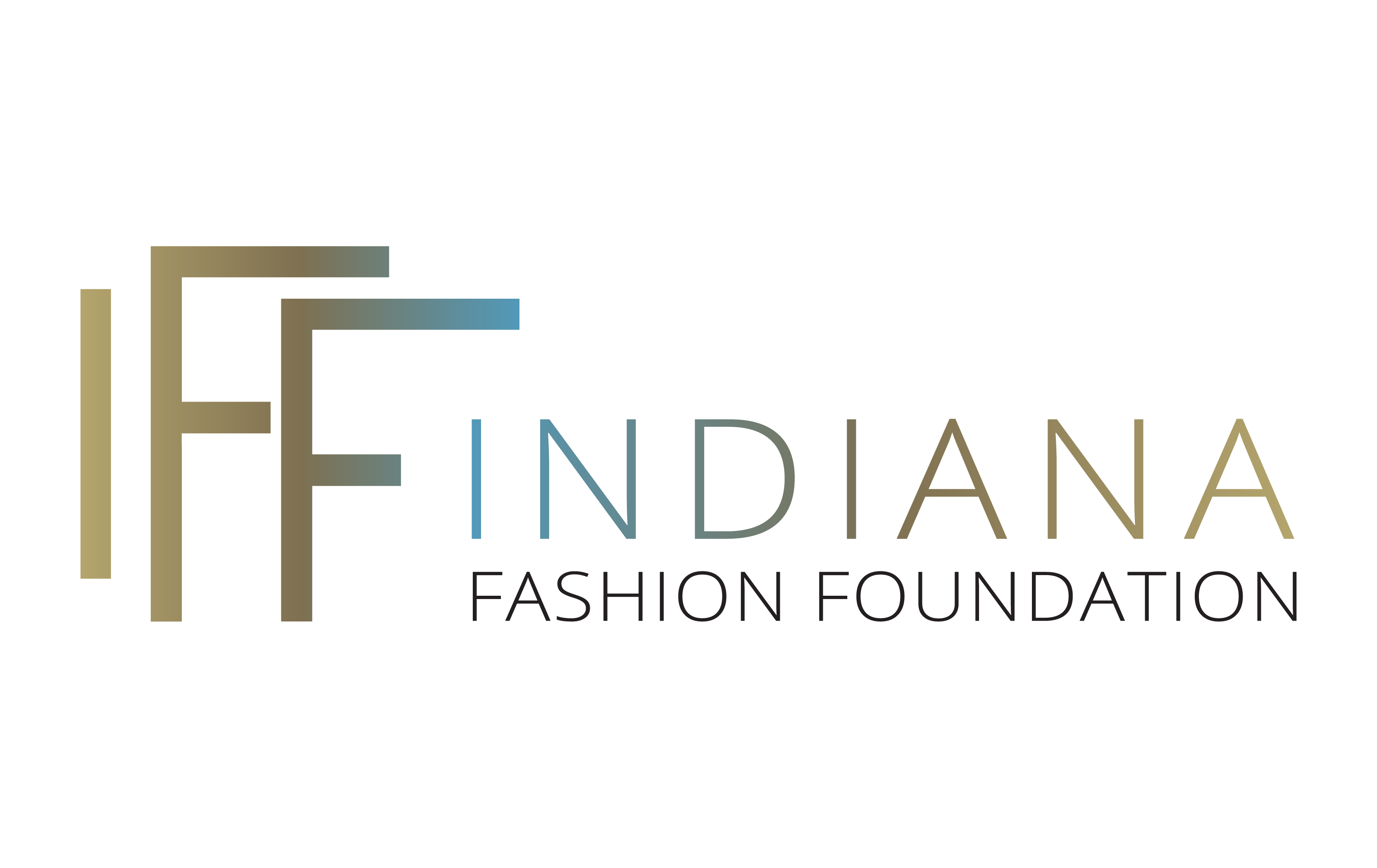 The full logo of Indiana Fashion Foundation. With IFF in a bigger font in an ombre effect of gold to blue, next to the words Indiana (being in the same ombre effect but from blue to gold) Fashion Foundation (black colored font)