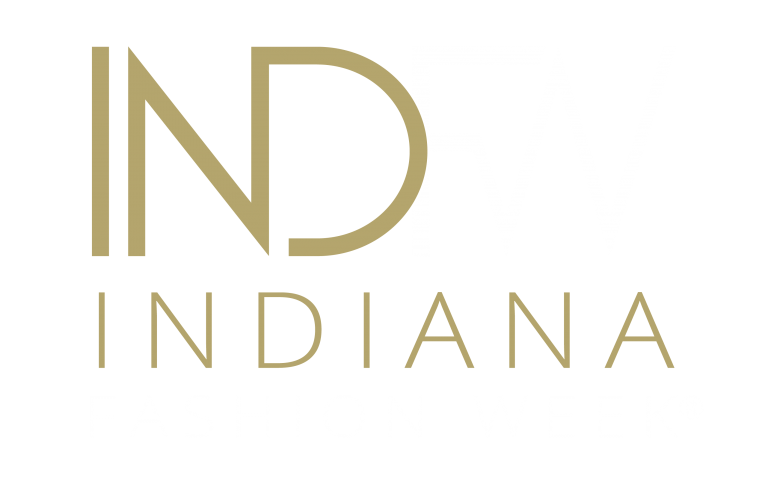 logo of INDFW. The letters IND in gold and FW in white, on top of the words Indiana in gold and Fashion Week in white underneath.