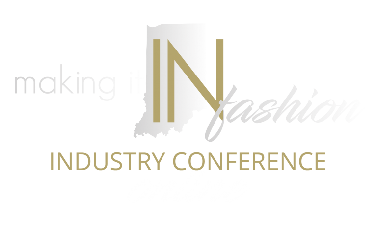 A white and gold logo of Making it iIN fashion for Industry Conference online.
