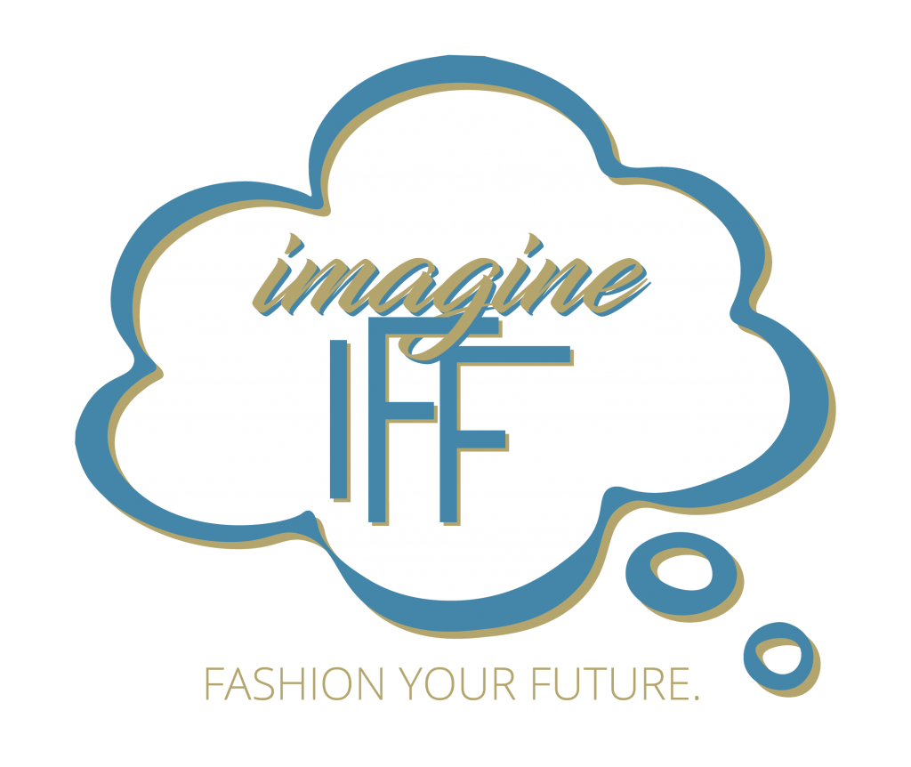 word of Imagine IFF inside a clouded thought bubble with the words Fashion Your Future at the bottom of it